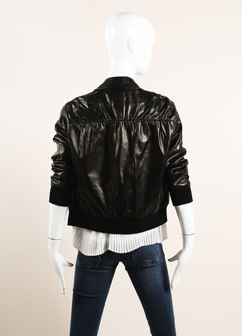 3.1 Phillip Lim Black Leather Bomber Jacket Backview