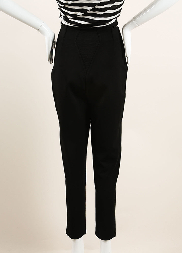Alaia Black Stretch Knit Ribbed Trim High Waisted Legging Riding Pants Backview