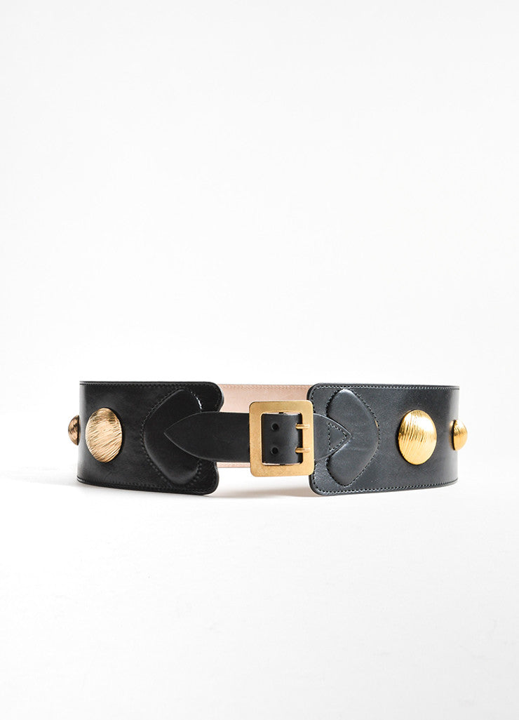 Alexander McQueen Black and Gold Toned Leather Studded Waist Belt Frontview