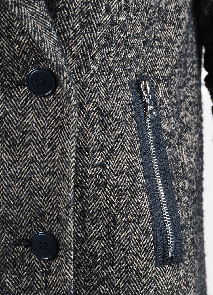 Alexander Wang Black and Grey Wool and Alpaca Blend Herringbone Coat Detail