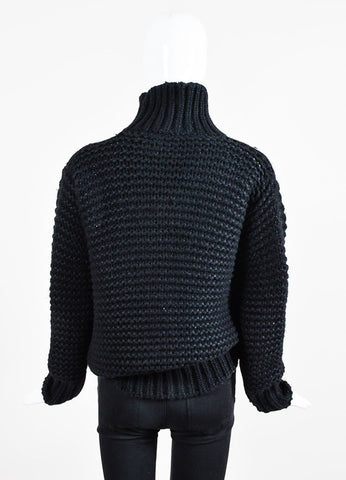"Black Ann Demeulemeester Silk Blend Knit ""Homey"" Sweater Backview"