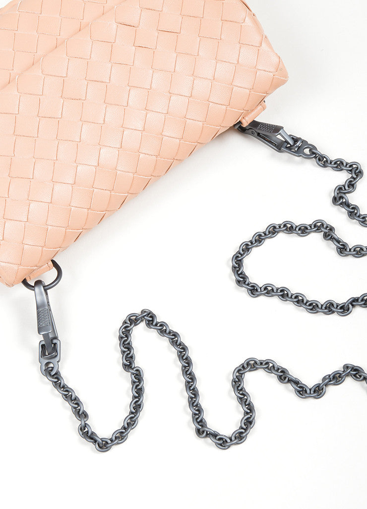 "Blush Pink Bottega Veneta ""Small Chain Intrecciato"" Nappa Cross Body Bag Detail 2"