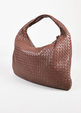 "Bottega Veneta Brown Intrecciato Leather ""Large Veneta"" Hobo Shoulder Bag Sideview"