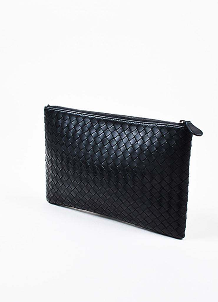 "Bottega Veneta Matte and Metallic Black ""Intrecciato"" Nappa Leather Zipped Pouch Bag Sideview"