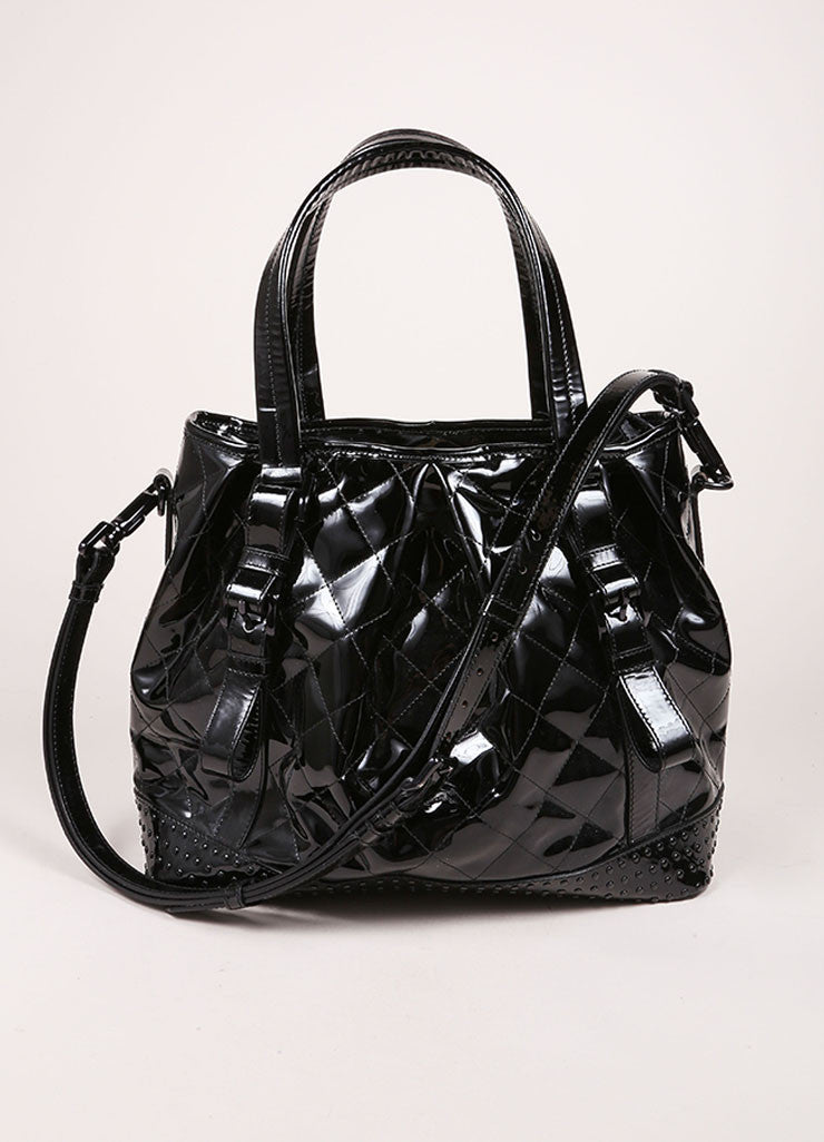 Burberry Burberry Black Patent Leather Buckle Strap Studded Tote Bag