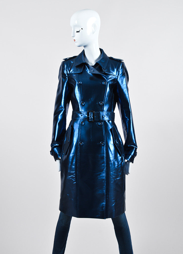 Blue Metallic Burberry Prorsum Double Breasted Trench Coat Frontview