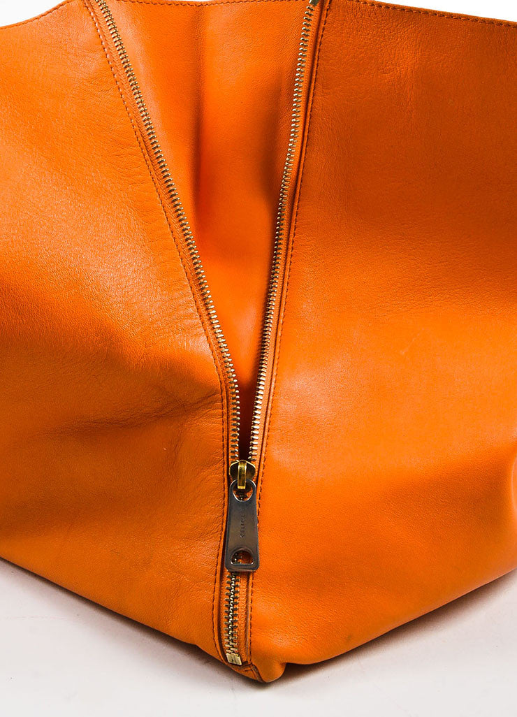 "Celine Orange Leather ""Horizontal Gusset Cabas"" Tote Bag Detail 4"