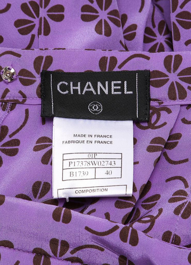 "Chanel Lavender Purple and Brown Silk Clover ""CC"" Logo Pleated Skirt Brand"