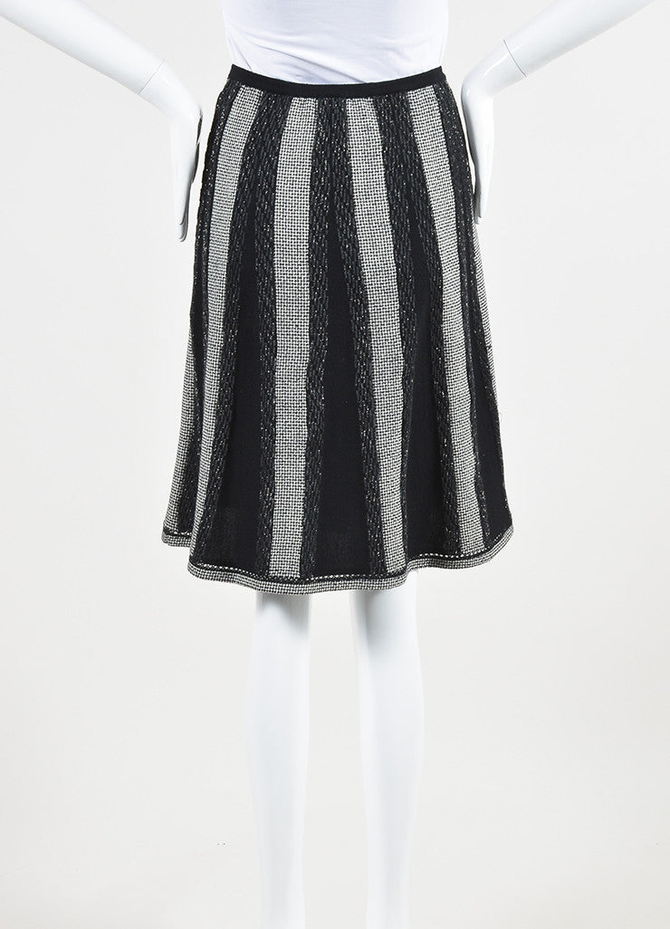 Black and White Chanel Wool Blend Houndstooth Metallic Stripe Skirt Backview