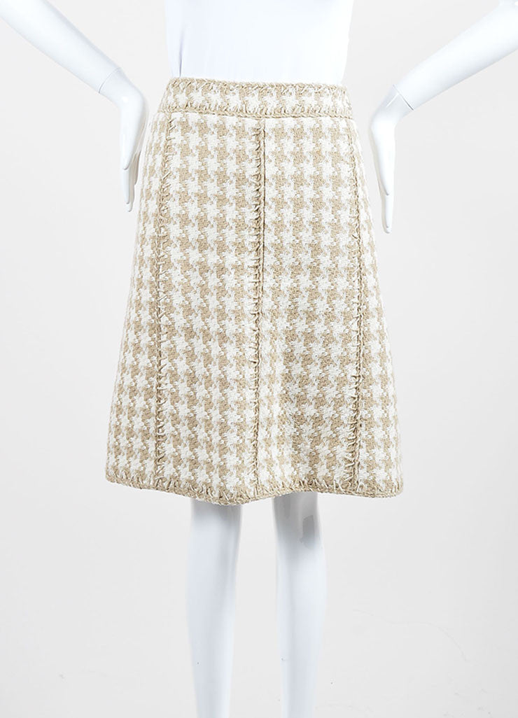 Taupe and White Chanel Silk Woven Houndstooth A-Line Skirt Frontview