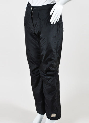 Black Chanel Nylon Blend Padded Straight Leg Snow Ski Pants Sideview