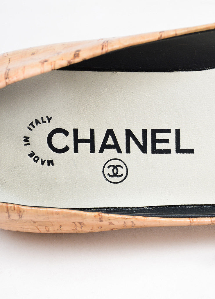 Tan, Black, and Silver Toned Chanel Cork and Leather Cap Toe Ballerina Flats Brand