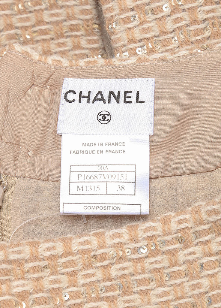 Chanel Tan, Gold, and Cream Wool and Alpaca Tweed and Chiffon Sequin Pleated Skirt Brand
