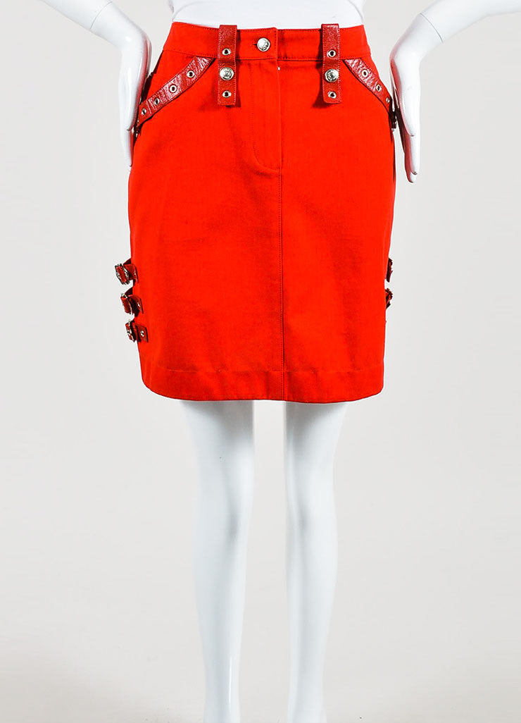 Red Christian Dior Cotton Leather Straps Mini Skirt Frontview