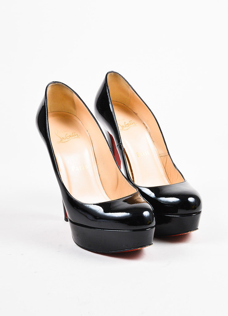 "Christian Louboutin Black Patent Leather ""Bianca"" Platform Pumps Frontview"