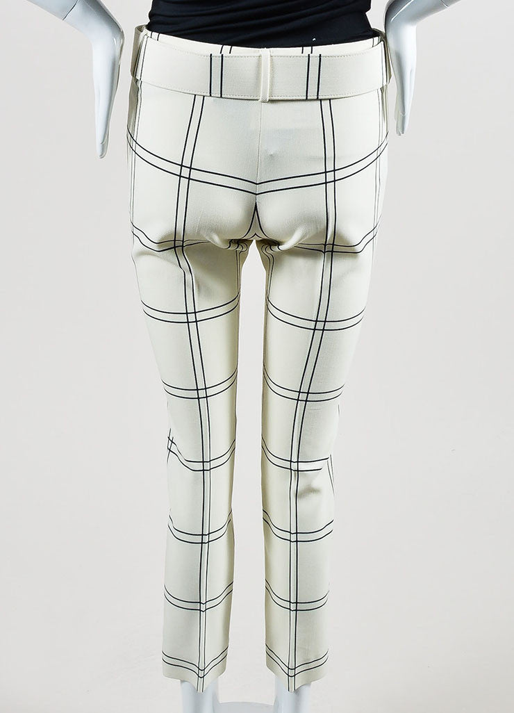 "Cream and Black Derek Lam Wool ""Windowpane Check"" Cropped Trousers Backview"