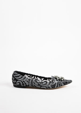 "Dolce & Gabbana Black Silver Lace Embellished ""Vally"" Loafer Flats Side"