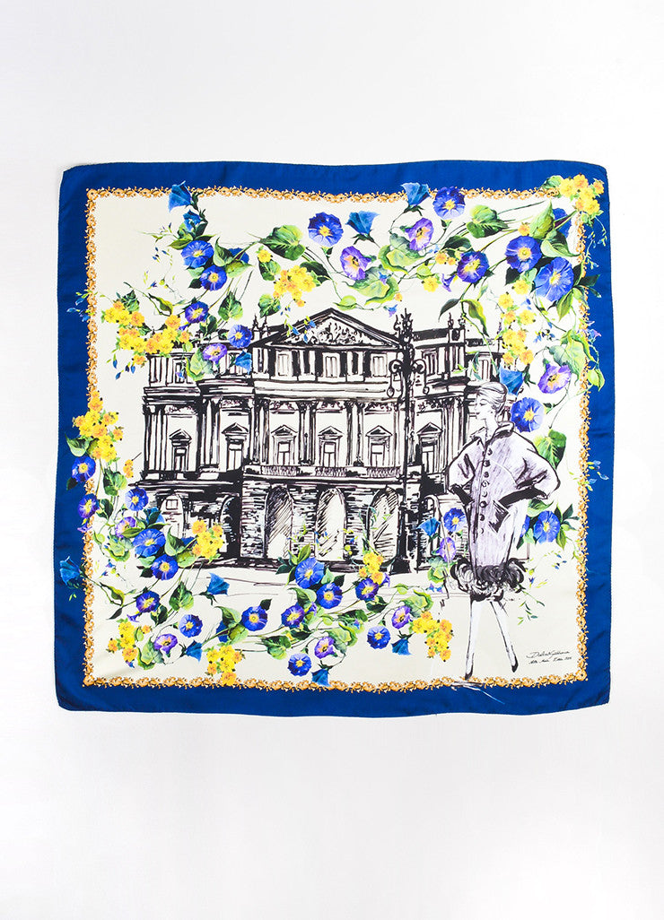 "¥éËDolce & Gabbana Blue, Yellow, and Cream Silk ""Alta Moda"" Floral Square Scarf Frontview 2"