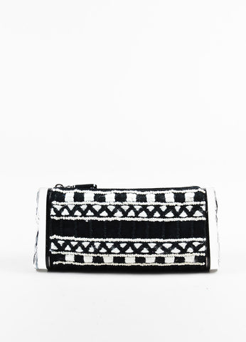 "Edie Parker Black and White Woven Acrylic Side ""Lara"" Clutch Bag Frontview"