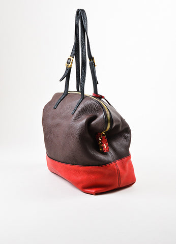 "Fendi Black, Brown, and Red Tricolor Leather Double Strap ""Selleria 2"" Handbag Sideview"