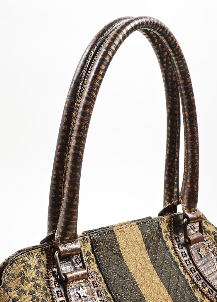 Fendi Brown and Taupe Brocade Leather Trim Patterned Satchel Bag Detail 2