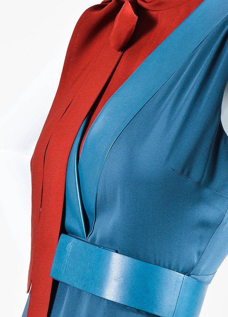 Blue and Red Gucci Silk Leather Trim Layered Bow Belted Dress Detail