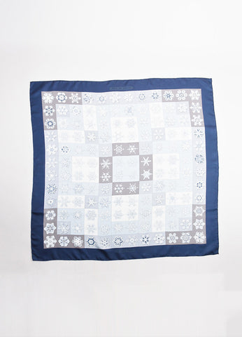 "Hermes Blue, Grey, and White Snowflake Print ""Feux de L'Hiver"" 90cm Square Scarf Frontview 2"