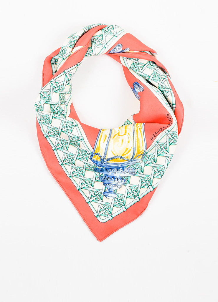 "Hermes Coral and Multicolor Silk ""Feux de Route"" Lamp Print 90cm Square Scarf Frontview"