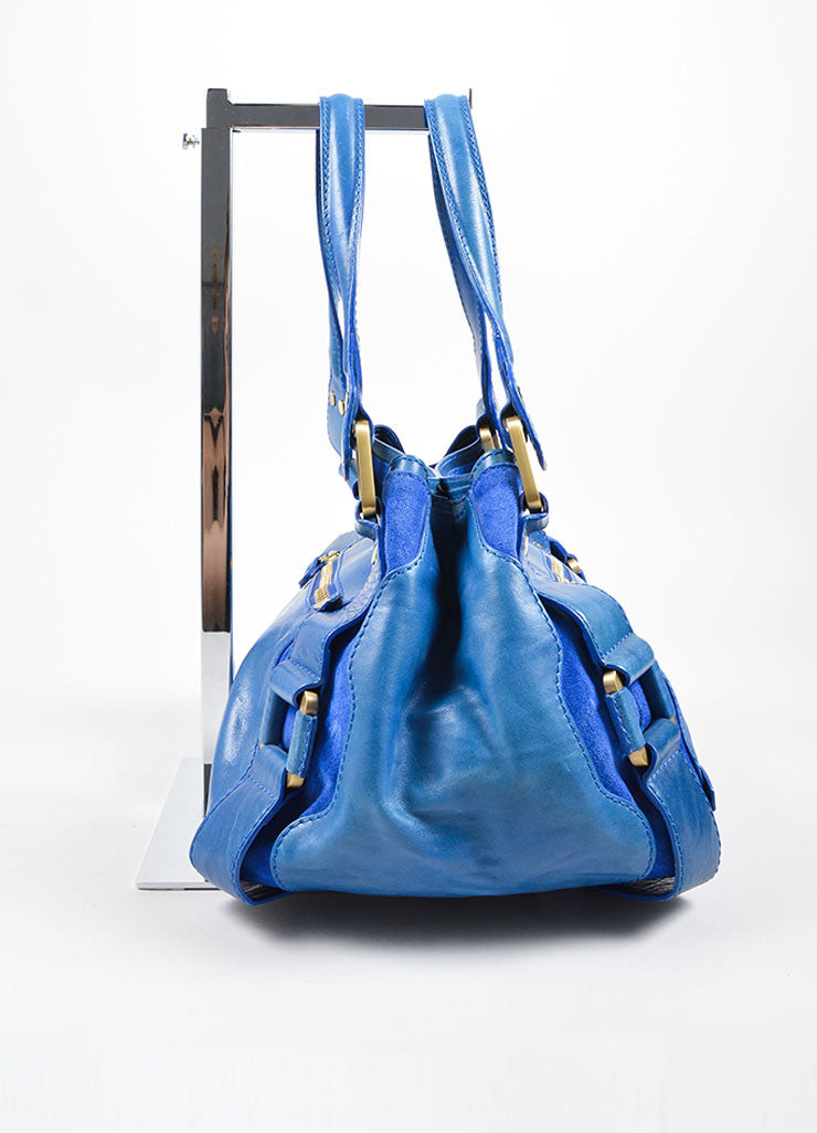 "Jimmy Choo Cobalt Blue Leather ""Mahala"" Shoulder Bag Sideview"
