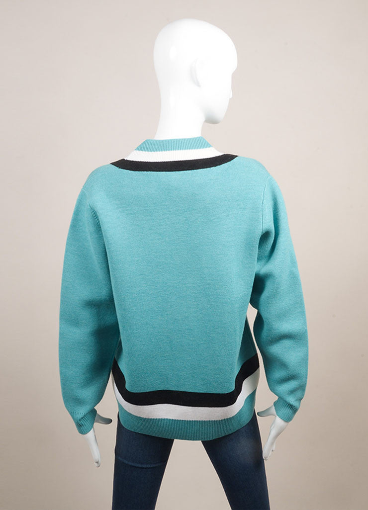 "Jonathan Saunders New With Tags Turquoise Wool Stripe Oversized ""Leanne"" Sweater Backview"
