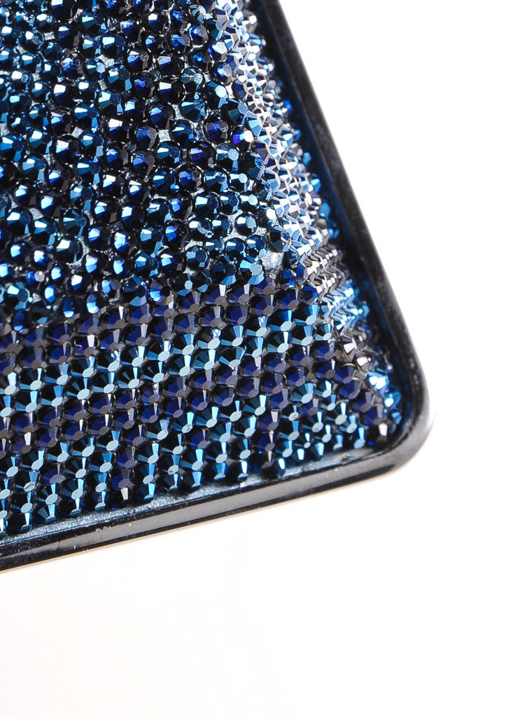 Judith Leiber New With Tags Blue, Purple, and Green Crystal Encrusted Minaudiere Clutch Bag Detail 5