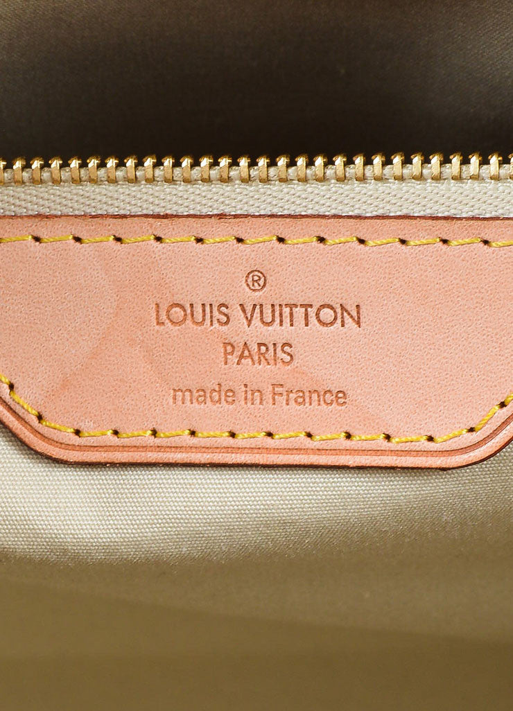 "Beige and Tan Louis Vuitton Vernis Patent Leather Embossed Monogram ""Brea GM"" Bag Brand"