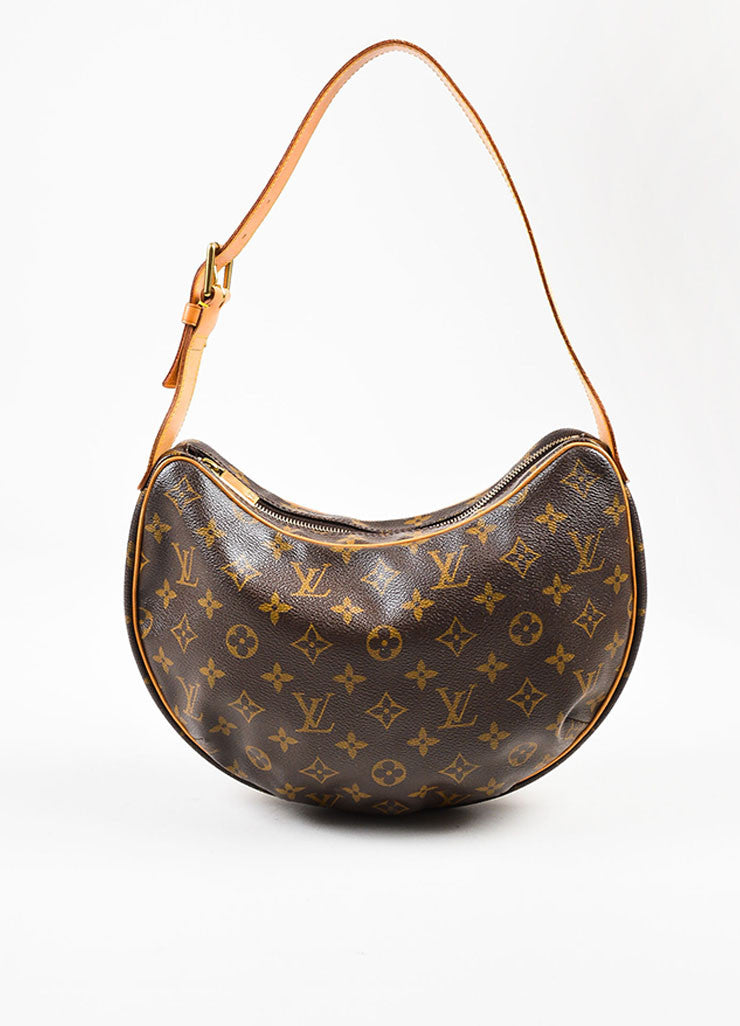 "Louis Vuitton Brown and Tan Coated Canvas Monogram ""Croissant MM"" Shoulder Bag Frontview"