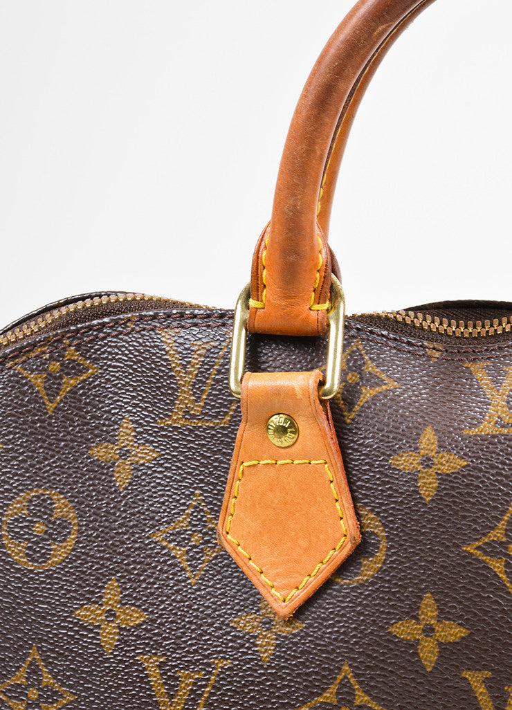 "Brown Louis Vuitton Monogram ""Alma PM"" Zip Satchel Bag Detail 2"