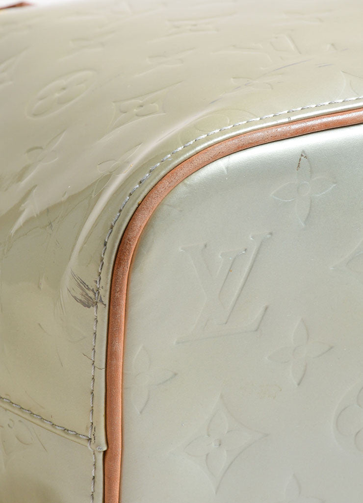 Louis Vuitton Pale Green Patent Leather Monogram Tote Detail