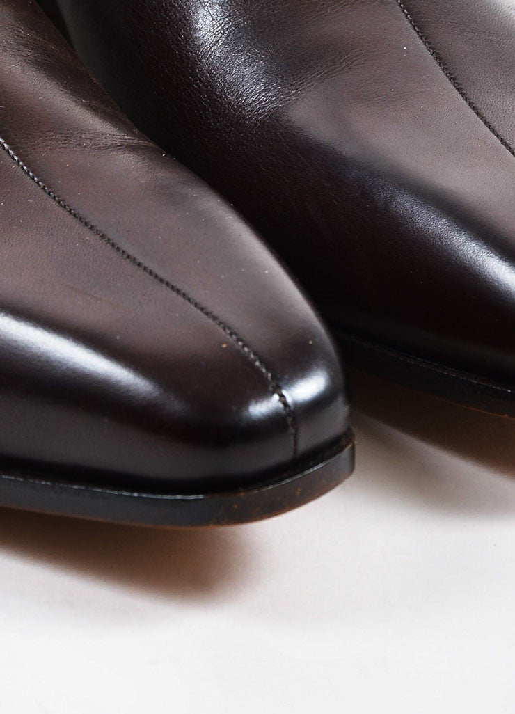 Men's Gucci Brown Leather Square Toe Pull On Chelsea Boots Detail