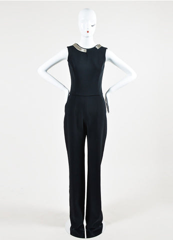 Black Mugler Chain Collar Open Back Wide Leg Halter Jumpsuit Frontview