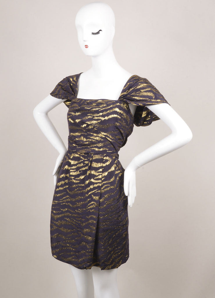 3.1 Phillip Lim Purple and Gold Silk Blend Animal Print Pleated Cap Sleeve Dress Sideview