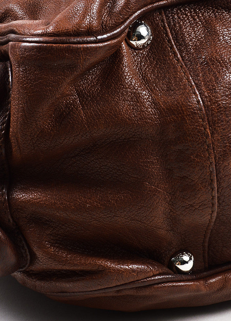 Prada Brown Distressed Leather Silver Toned Zip Multipocket Satchel Shoulder Bag Detail