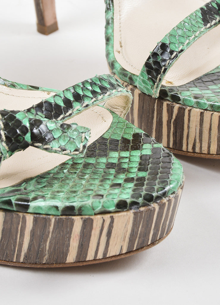 Prada Green, Brown, and Beige Python and Wood Bow Strap Platform Sandals Detail
