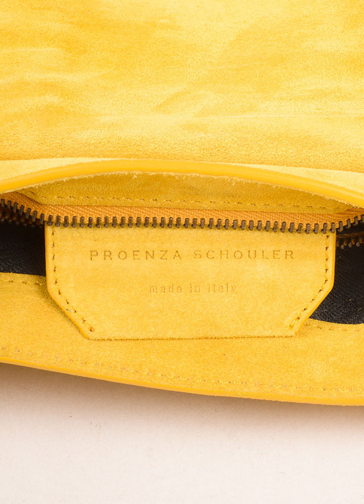 "Proenza Schouler Dark Yellow Suede ""PS1"" Small Messenger Crossbody Bag Brand"