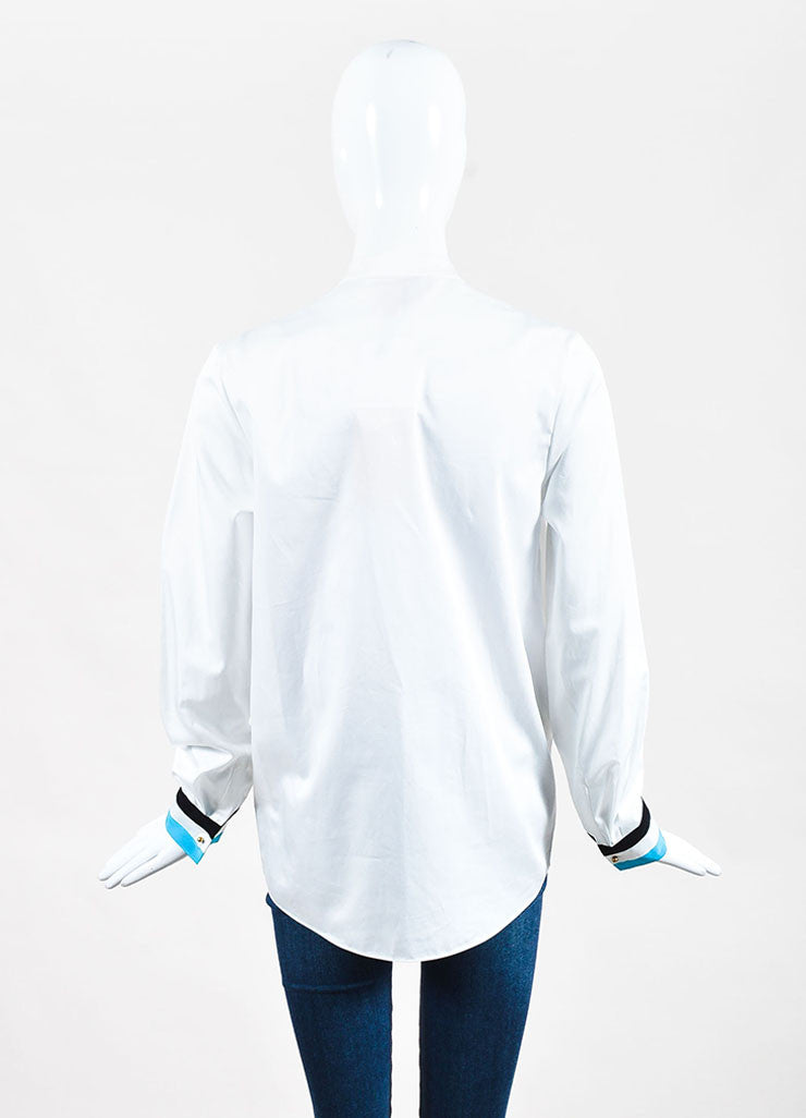 "White Blue & Black Roksanda Cotton Blend ""Avery"" Shirt Back"