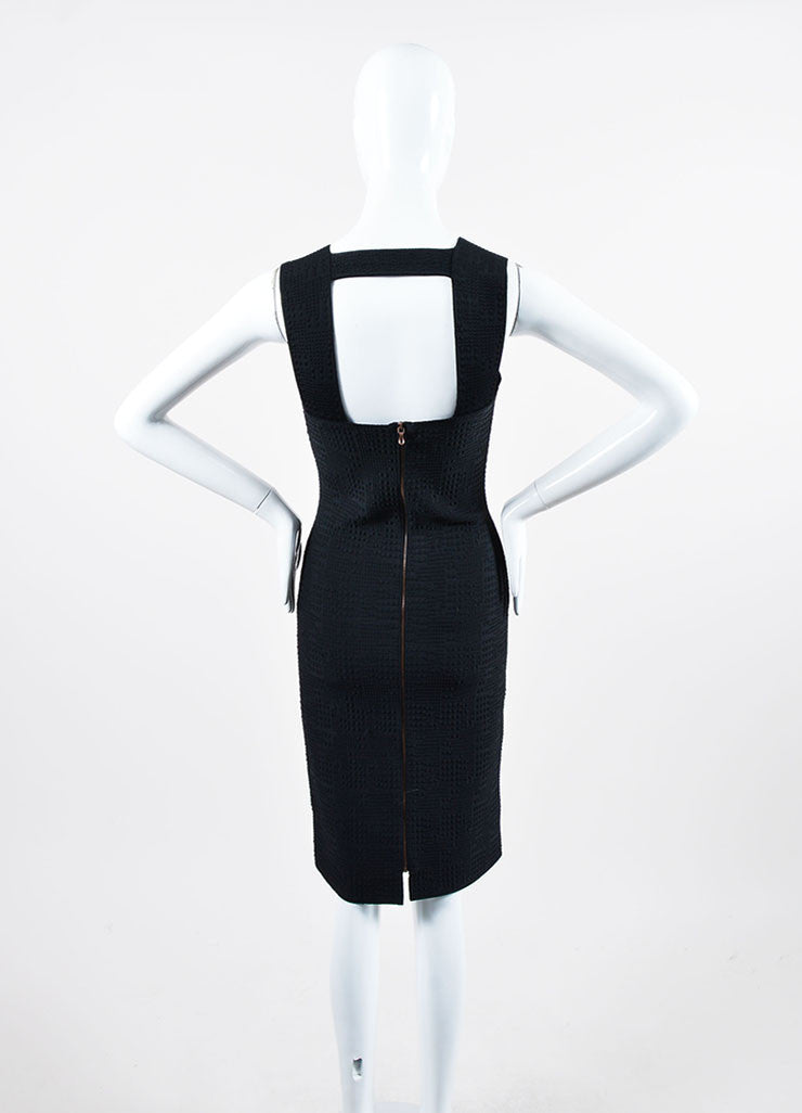 Black Roland Mouret Textured Knit Sleeveless Fitted Bodycon Dress Backview