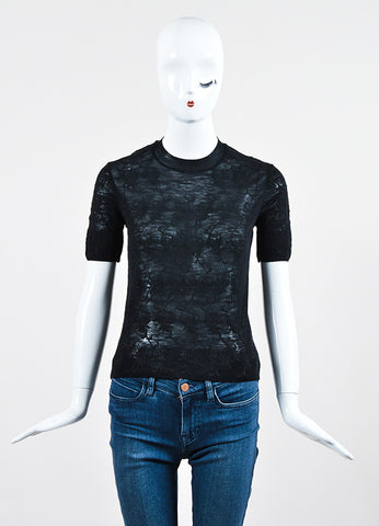 Black Tao Comme des Garcons Sheer Knit Floral Embroidered Short Sleeve Sweater