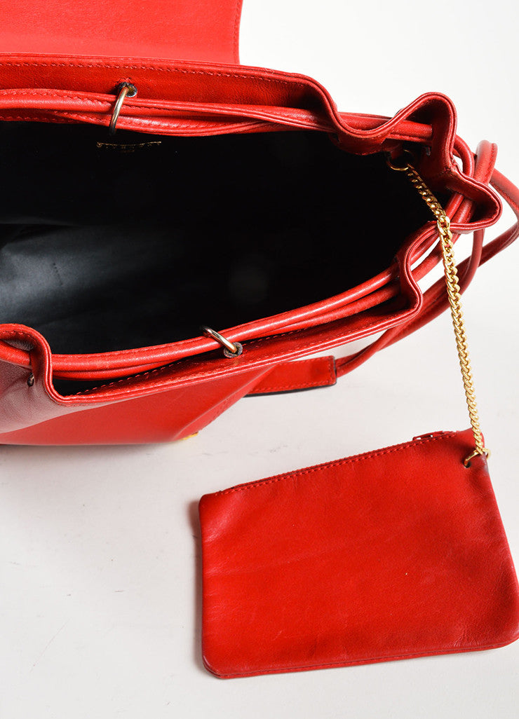 Givenchy Red Leather Gold Toned Studded Bucket Bag Accessory