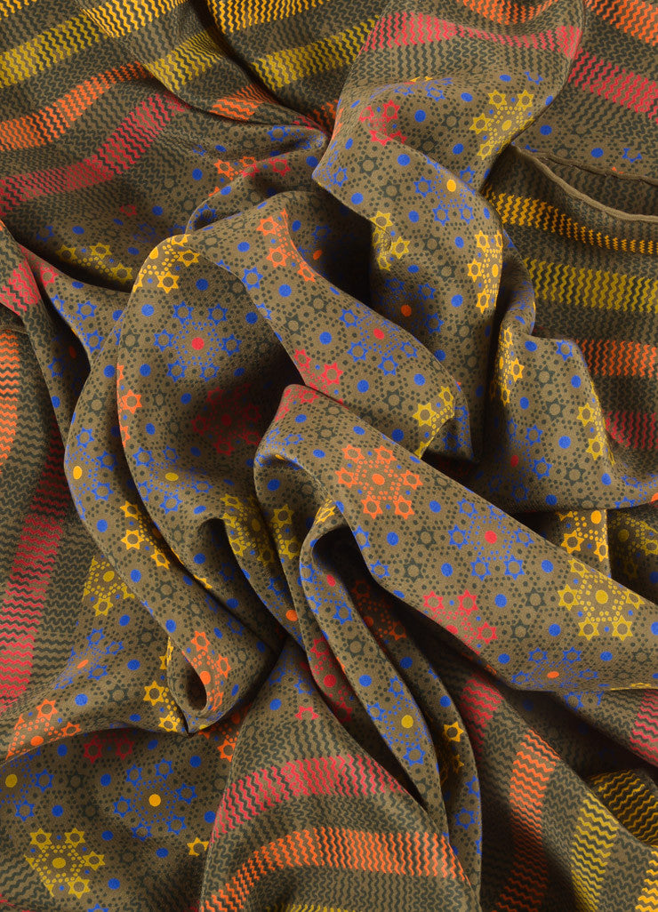 Missoni Green and Multicolor Stripe and Radial Start Print Silk Scarf Detail