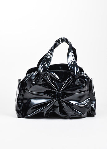 Black Valentino Patent Leather Bow Ruched Handbag Bowler Satchel Bag Frontview