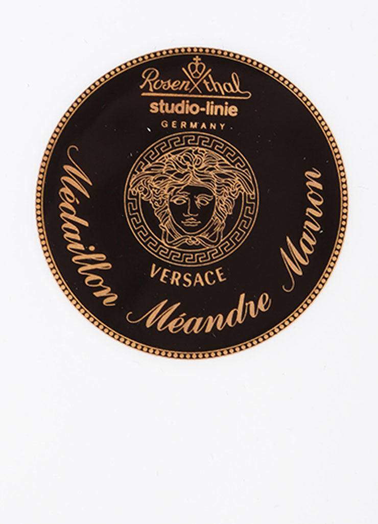 "Versace Rosenthal Brown and Gold Toned ""Medaillon Meandre Marron"" 12 inch Service Plate Brand"
