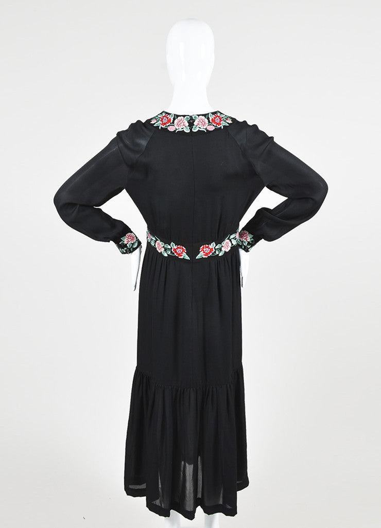 "Black Vilshenko Silk Red Floral Embroider ""Azita"" Long Sleeve Midi Dress Backview"