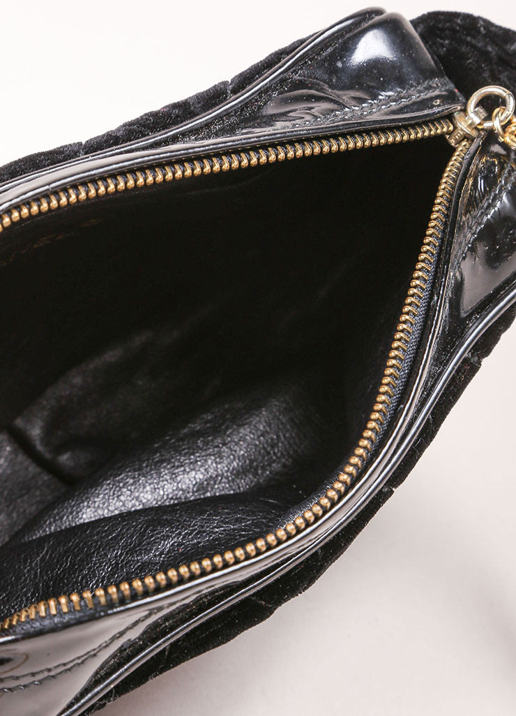 Chanel Black Velvet Quilted Patent Grim Gold Toned Chain Bag Interior